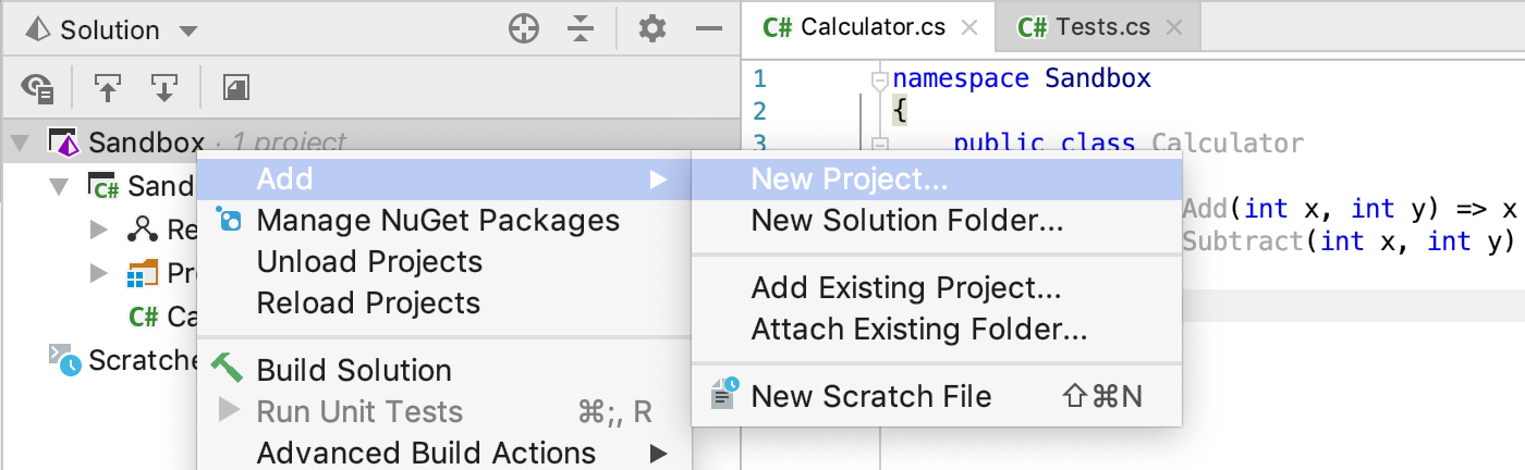 Getting Started:  NET Framework with JetBrains Rider > xUnit net