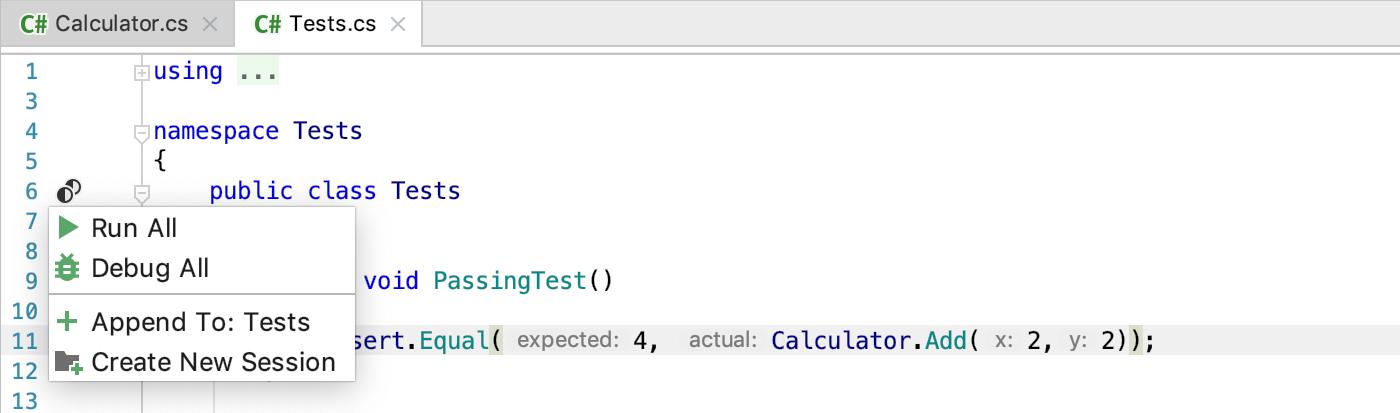 Getting Started:  NET Framework with JetBrains Rider > xUnit net